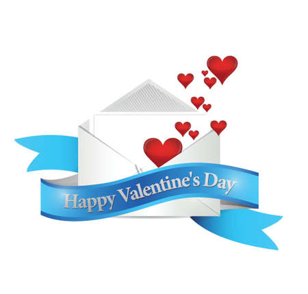 happy valentines day mail. illustration design over a white background Vector