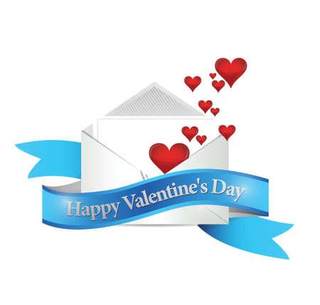 truelove: happy valentines day mail. illustration design over a white background
