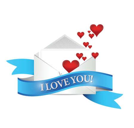 truelove: I love You mail. envelope illustration design over white