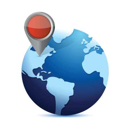 globe and locator. illustration design over white
