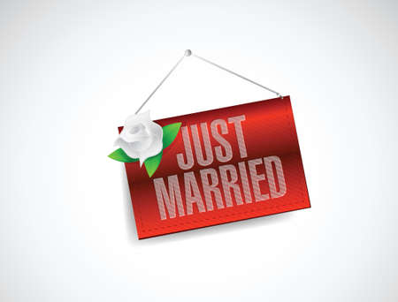 just married hanging banner sign illustration design over white Vector