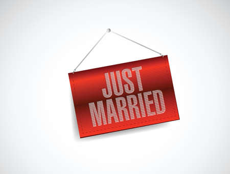 just married hanging banner sign illustration design over white Фото со стока - 21506129