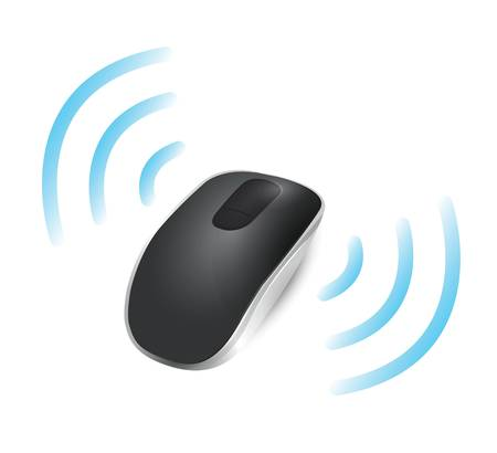 wireless: wireless mouse connected. illustration design over white