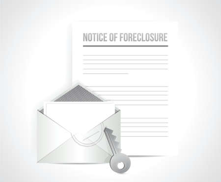 homeownership: notice of foreclosure letter and envelope. illustration design over white