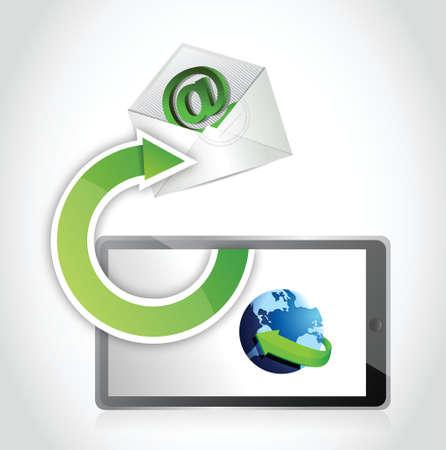 using tablet: mail communication using tablet. illustration design over white