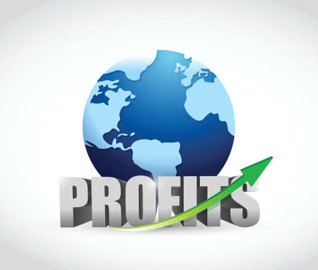 planing: international globe profits illustration design over a white background