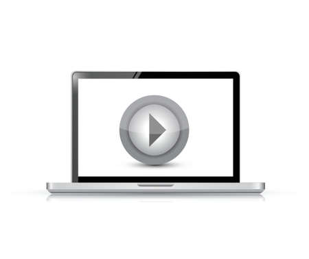 video player: media player on a laptop illustration design over a white background Illustration