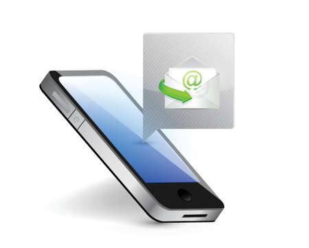 smartphone receiving mail illustration design over white Vector
