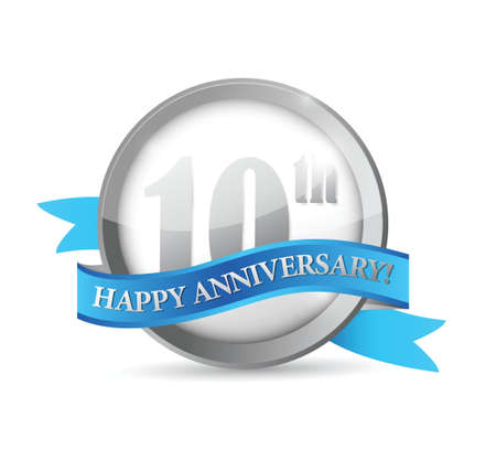 silver anniversary: 10th anniversary seal and ribbon illustration design over white