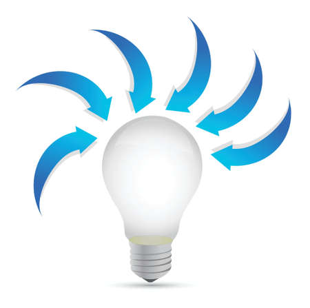 withe: lightbulb with arrows around. illustration design over a withe background