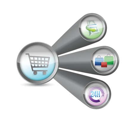 e commerce icon: e commerce concept diagram illustration design over white Illustration