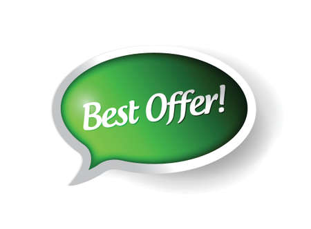 best offer message bubble illustration design over a white background Vector