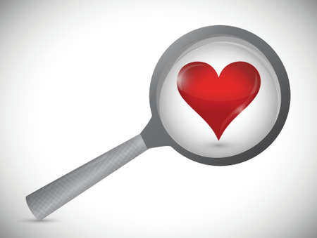 glass reflection: love search concept illustration design over white