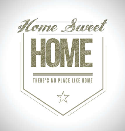 worn sign: hogar dulce sello ilustraci�n, dise�o en blanco