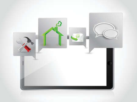 tablet applications and tools. illustration design over a white background Vector