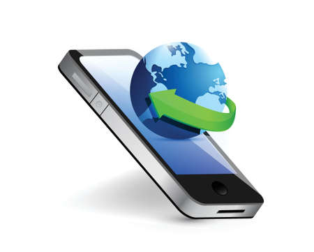 cellphone icon: smartphone and international globe illustration design over white