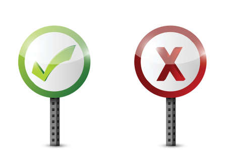 yes and no road sign illustration design over white Stock Vector - 21506239