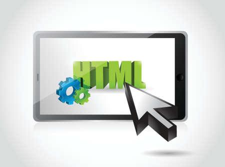 tablet html access illustration design over a white background Illustration