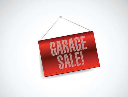 garage sale red hanging banner illustration design over white Stock Vector - 21603094
