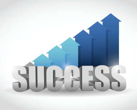 成功した矢印青グラフ。白イラスト デザイン