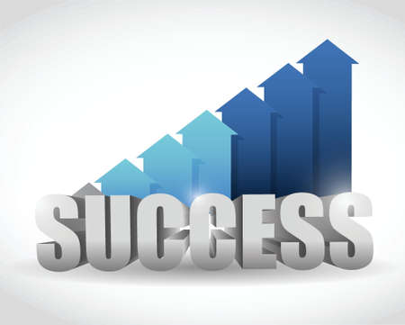 successful arrow blue graph. illustration design over white