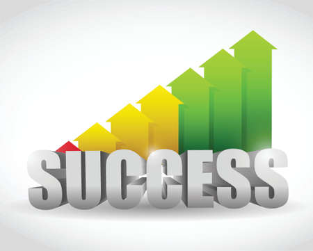 successful arrow color graph. illustration design over white Vector