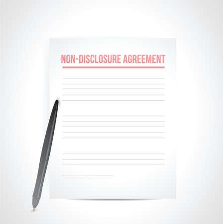 비 공개 계약 문서. 흰색 위에 그림 디자인