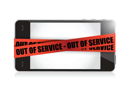 phone out of service. illustration concept design over white
