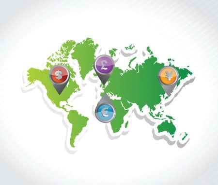 通貨マップ ガイド イラスト デザインのポインターを持つ。白背景