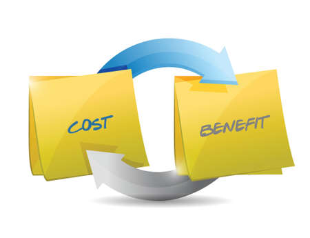 cost and benefits working together for success. illustration design Ilustrace