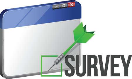 targeted: A web browser window shows the word Survey. illustration design Illustration