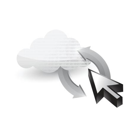 cloud and cursor connected. illustration design over white Vectores