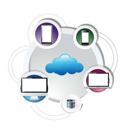 electronic cloud computing network connection over a white background Stock Vector - 21603184