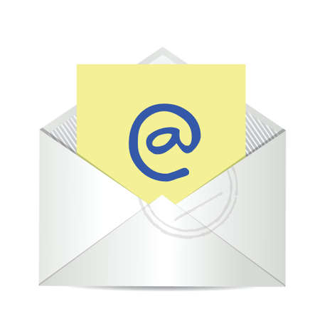 email us: contattaci lettera disegno email illustrazione su uno sfondo bianco