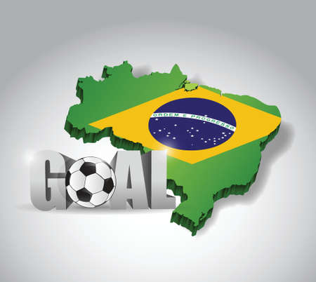 brasil soccer and goal 3d text sign. football illustration design