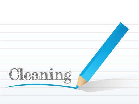 cleaning written on a piece of notepad paper. illustration design