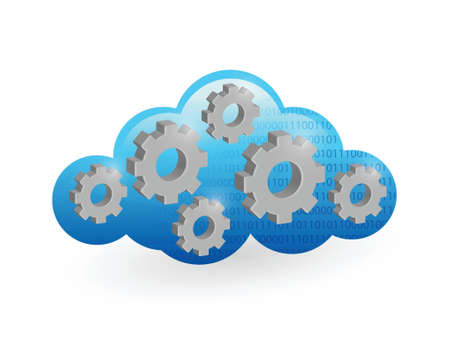 cloud computing and gear illustration design over a white background Stock Vector - 21603202