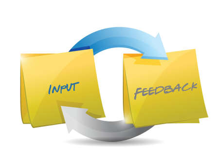 feedback link: input and feedback cycle illustration design over white