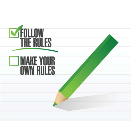 rebelling: follow the rules check of approval illustration design
