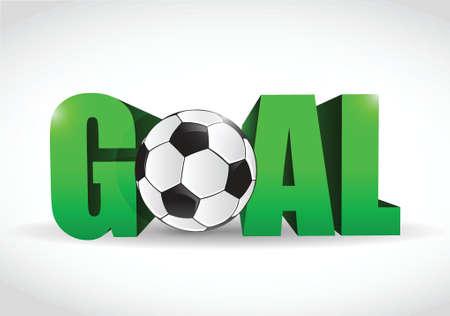 イラスト デザイン白色の背景上のテキストとサッカー ボール目標  イラスト・ベクター素材
