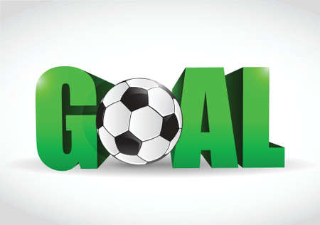goal text and soccer ball illustration design over a white background