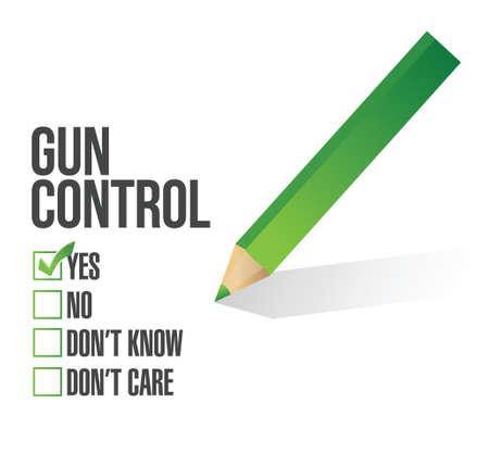 yes or no: gun control survey concept illustration design over white Illustration