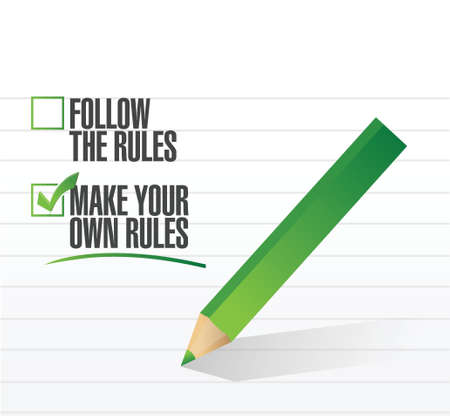 rebelling: make your own rules check of approval illustration design Illustration
