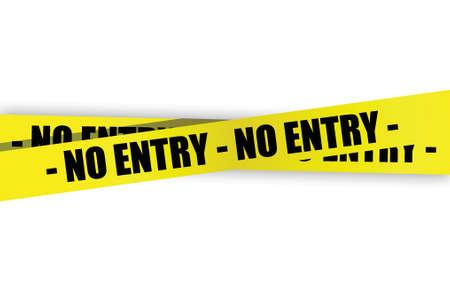 no pase: no amarilla de entrada, una cinta de advertencia de diseño ilustración sobre un fondo blanco