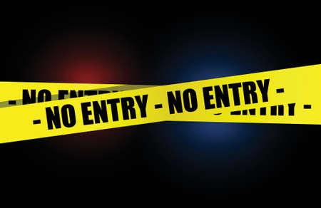 no pase: no amarilla de entrada, una cinta de advertencia de diseño ilustración sobre un fondo oscuro