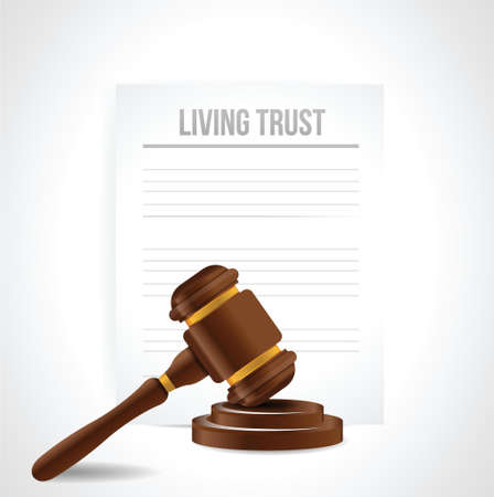 trust people: living trust legal document illustration design over a white background