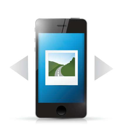 photo gallery: tel�fono y galer�a de dise�o de la ilustraci�n sobre un fondo blanco
