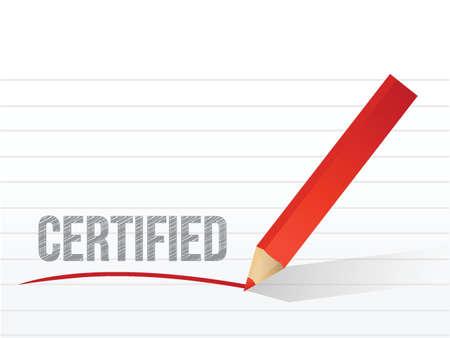 word certified written on a white notepaper illustration design Ilustração