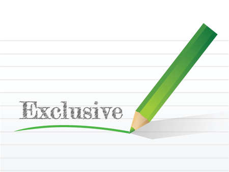 word exclusive written on a white notepaper illustration design