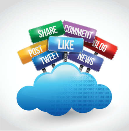 cloud computing and social media and services sign illustration design over white Stock Vector - 21763975